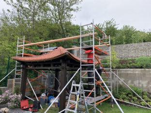 A japán hinode kerti pavilon gyártása és építése
